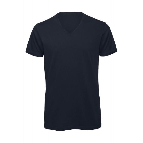 Ekologisk V-ringad T-shirt - Marinblå