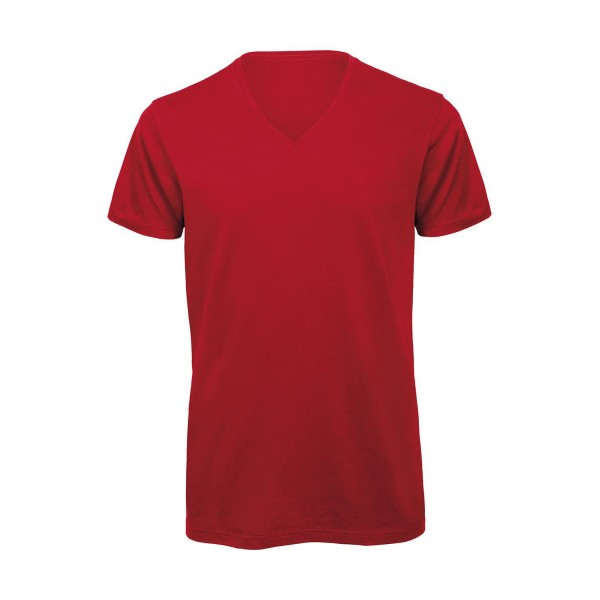 Ekologisk V-ringad T-shirt - Röd