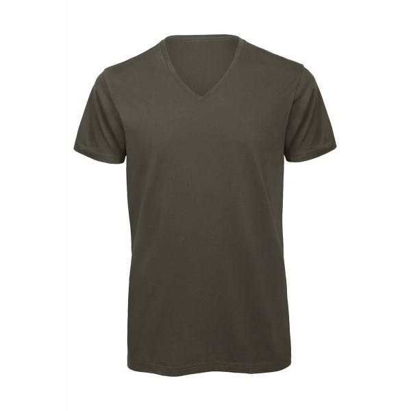 Ekologisk V-ringad T-shirt - Khaki