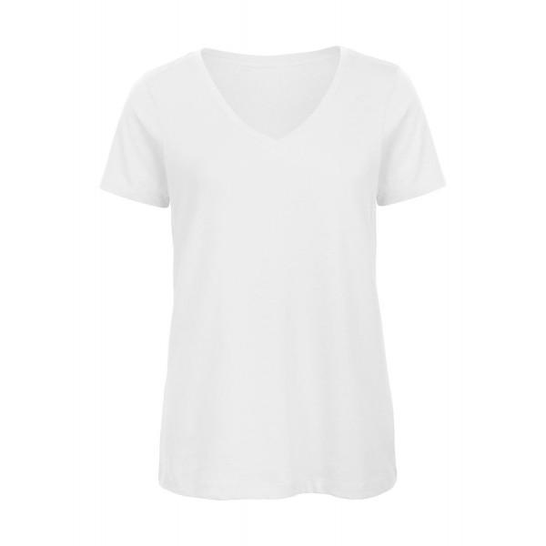 Ekologisk V-ringad Dam T-shirt - Vit