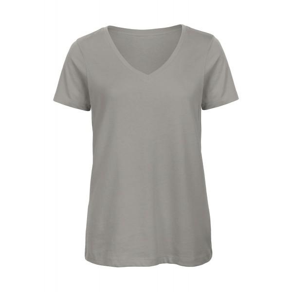 Ekologisk V-ringad Dam T-shirt - Ljus Grå