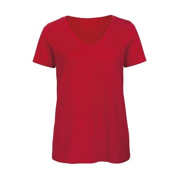 Ekologisk V-ringad Dam T-shirt - Röd