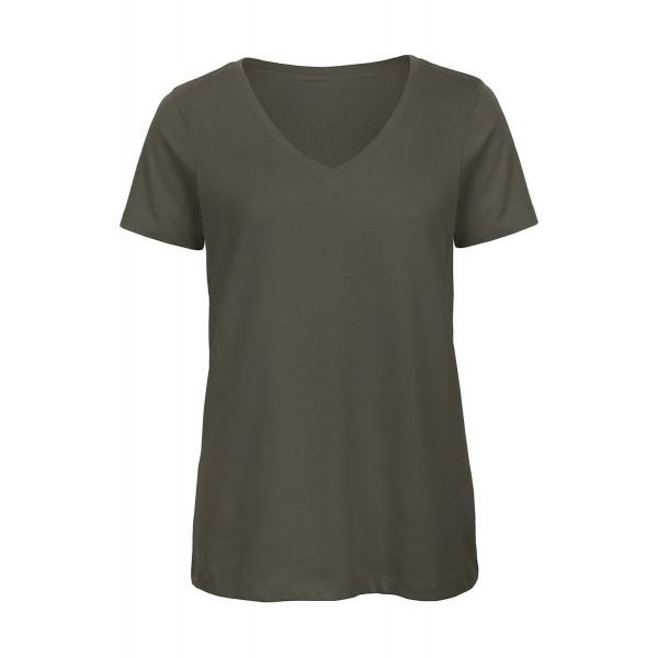 Ekologisk V-ringad Dam T-shirt - Khaki