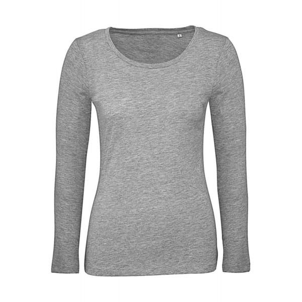 Ekologisk Långärmad Dam T-shirt - Grå
