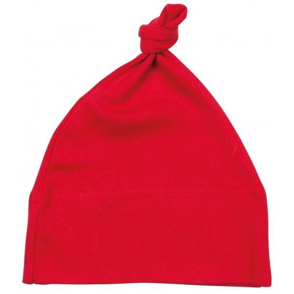 Babymössa med dekorativ knut - Röd