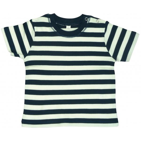 Tjockrandig Baby T-shirt - Marinblå / Vit