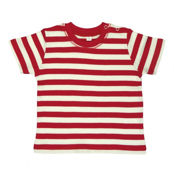 Tjockrandig Baby T-shirt - Röd / Vit
