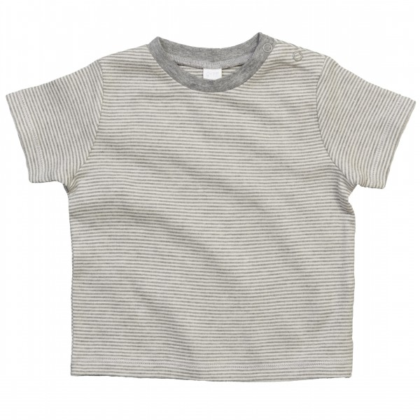 Randig Baby T-shirt - Vit / Heather Grå Melange