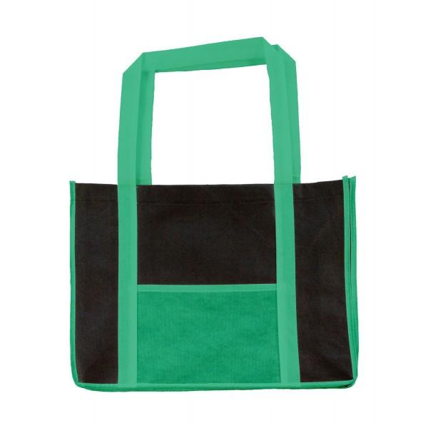 Fritidsväska med långa handtag - Mörk Grön/Svart - Fram