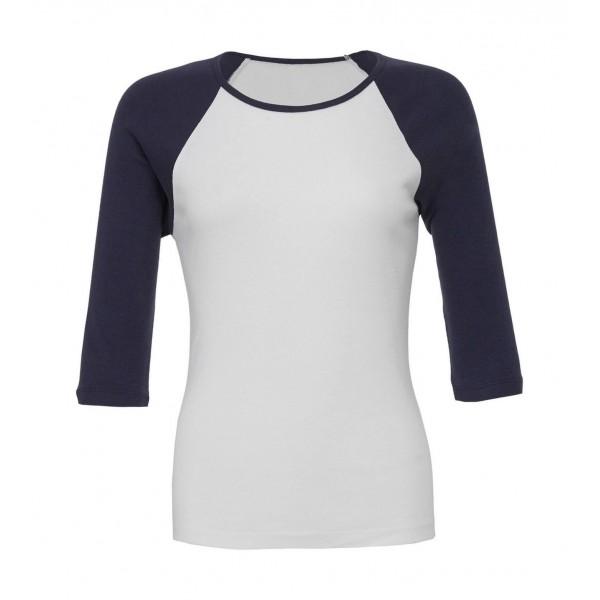 Kontrast Raglan T-shirt - Vit med Marinblå ärmar