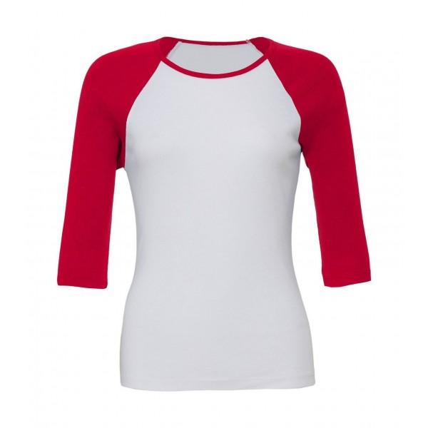 Kontrast Raglan T-shirt - Vit med Röda ärmar