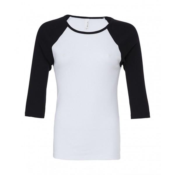 Kontrast Raglan T-shirt - Vit med Svarta ärmar