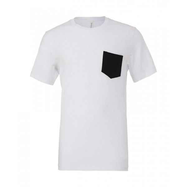 T-shirt - Vit med Svart ficka