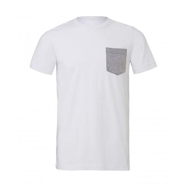 T-shirt - Vit med Grå ficka