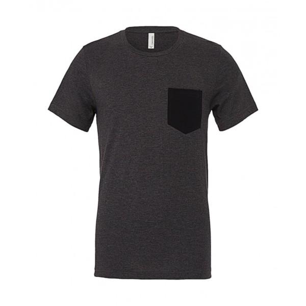 T-shirt - Mörk Grå med Svart ficka