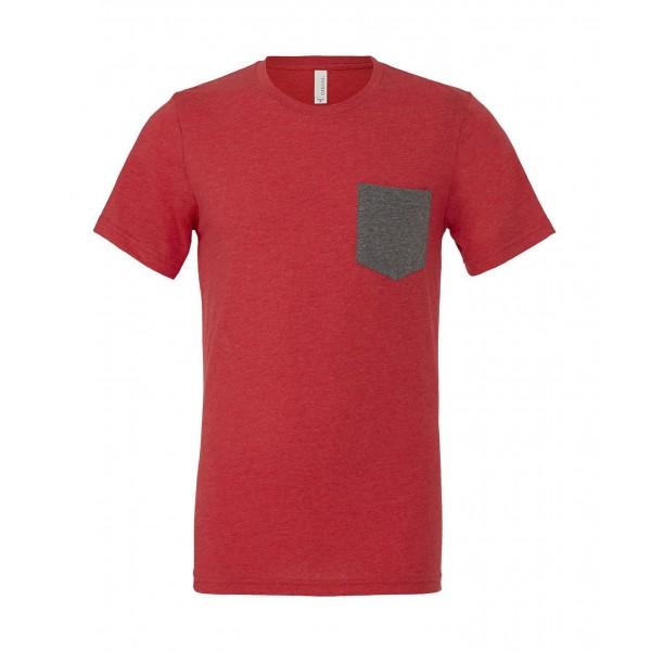 T-shirt - Röd med Grå ficka