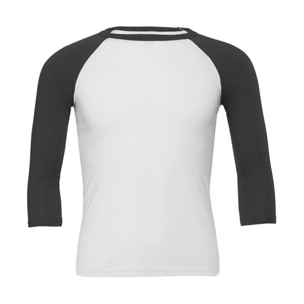 Baseball T-shirt - Vit med Mörk Gråa Ärmar