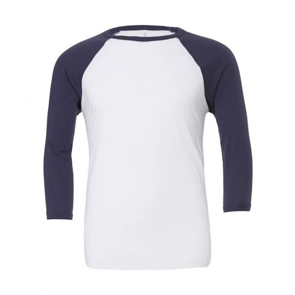 Baseball T-shirt - Vit med Marinblåa Ärmar