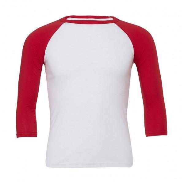 Baseball T-shirt - Vit med Röda Ärmar