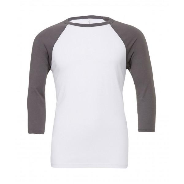 Baseball T-shirt - Vit med Djup Gråa Ärmar
