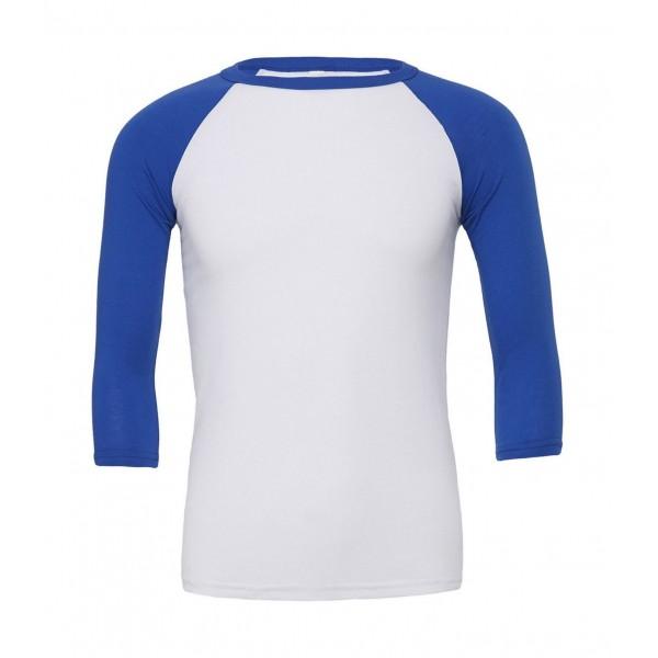 Baseball T-shirt - Vit med Kungsblå Ärmar