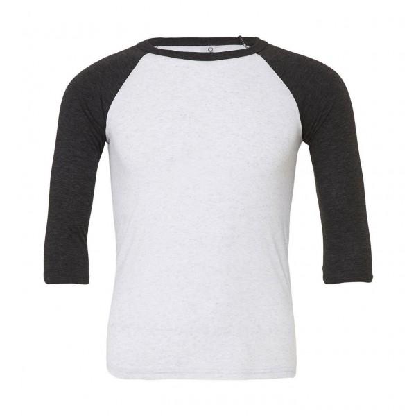 Baseball T-shirt - Vit med Charcoal/Svart Triblend Ärmar