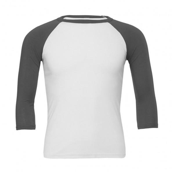 Baseball T-shirt - Vit med Asfaltgrå Ärmar
