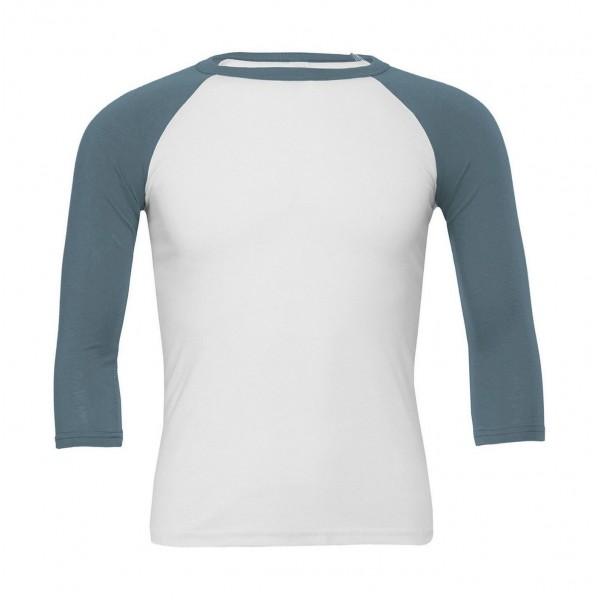 Baseball T-shirt - Vit med Denimblå Ärmar