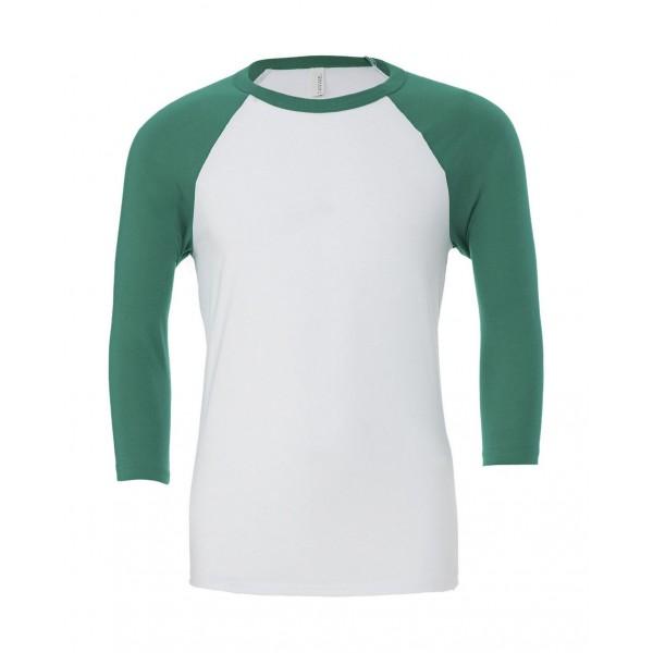 Baseball T-shirt - Vit med Gröna Ärmar