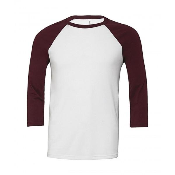 Baseball T-shirt - Vit med Rödbruna Ärmar