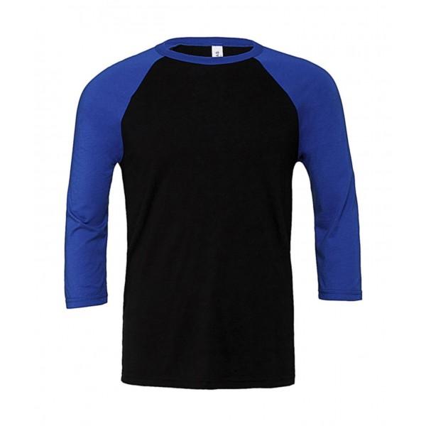 Baseball T-shirt - Svart med Kungsblå Ärmar