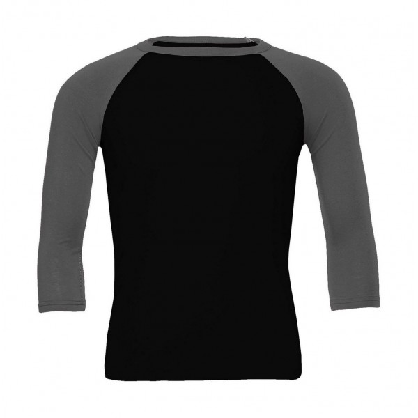 Baseball T-shirt - Svart med Djupgrå Ärmar