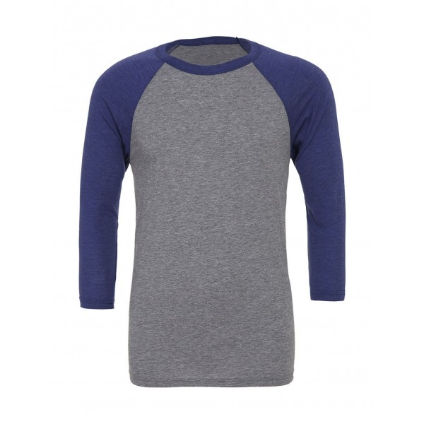 Baseball T-shirt - Grå med Marinblå Triblend Ärmar