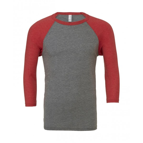 Baseball T-shirt - Grå med Röd Triblend Ärmar