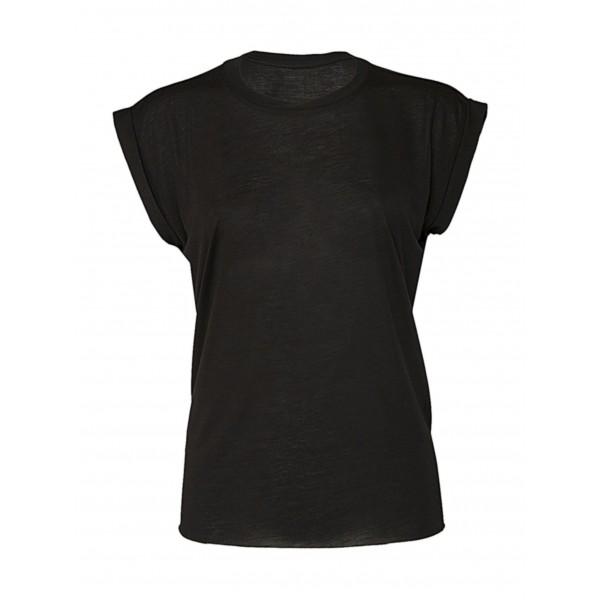 Dam T-shirt med Upprullade Ärmslut - Svart