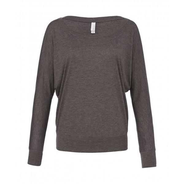 Baraxlad Långärmad Dam T-shirt - Mörk Grå Heather
