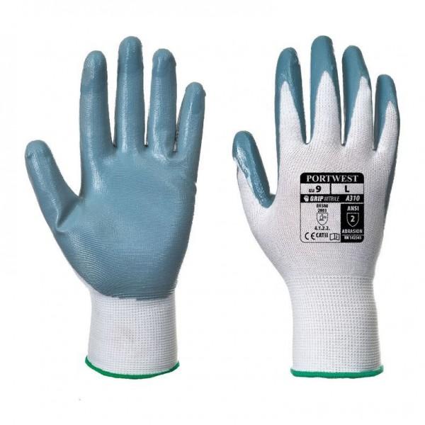 Nitrilbelagd Handske med Flexibelt Grepp - Grå/Vit