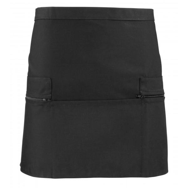 Kort Midjeförkläde med ficka och blixtlås - Svart