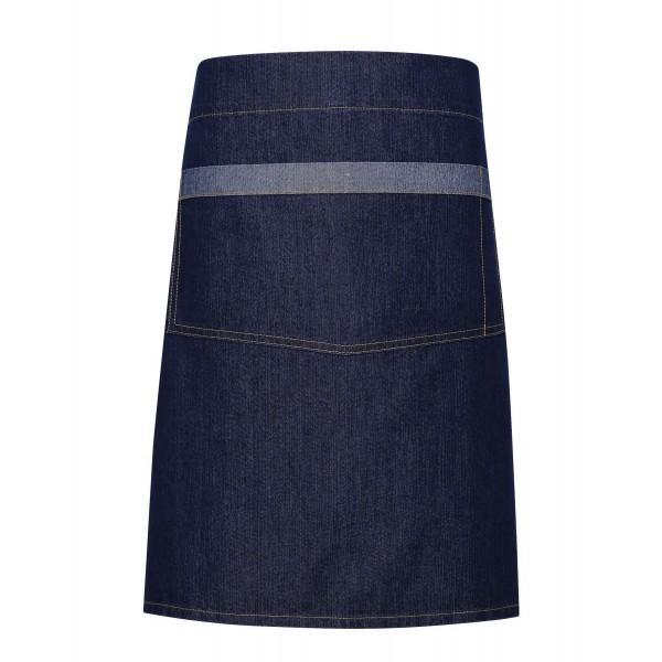 Snyggt Kort Midjeförkläde i Jeans med Kontraster  - Indigo Denim