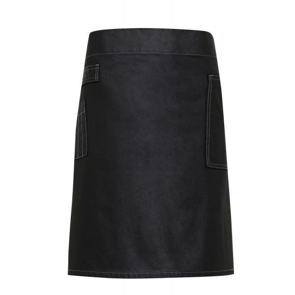 Jeans Midjeförkläde i Vaxad Look - Svart Denim