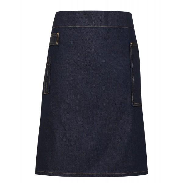 Jeans Midjeförkläde i Vaxad Look - Svart / Tan Denim