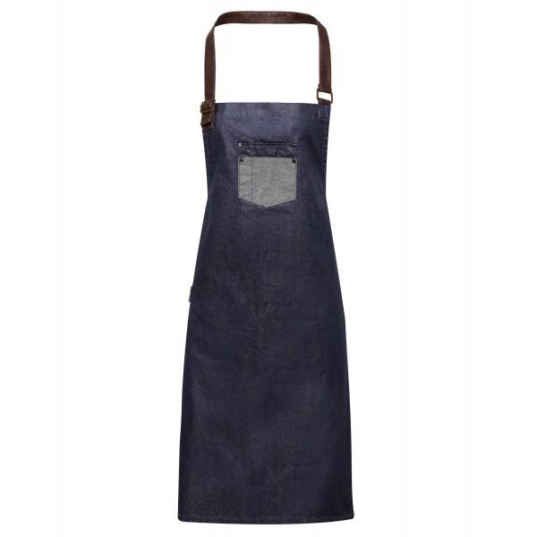"""Vaxad Jeansförkläde med detaljer i """"läder"""" - Indigo Denim"""