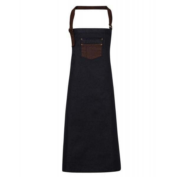 """Vaxad Jeansförkläde med detaljer i """"läder""""  - Indigo / Brun Denim"""