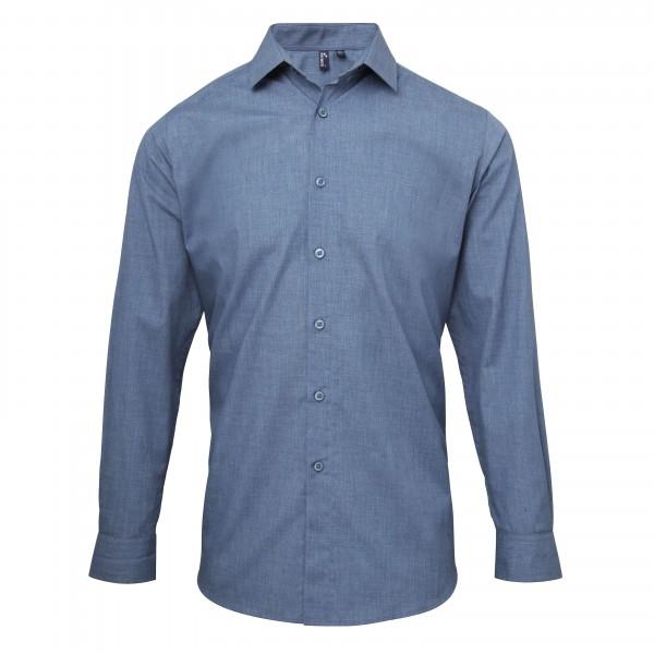 Barskjorta med Rullärmar i Poplin Stil - Indigoblå Denim