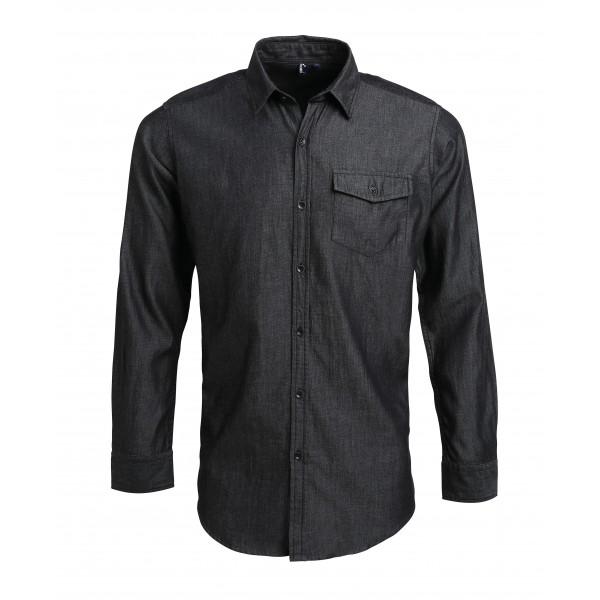 Snygg Jeansskjorta med Kontraststygn - Svart Denim