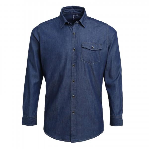 Snygg Jeansskjorta med Kontraststygn -Indigoblå Denim