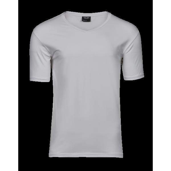 Elastisk T-shirt V-ringad
